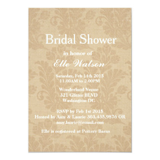 Rustic Burlap Bridal Shower Invitations, Custom Card