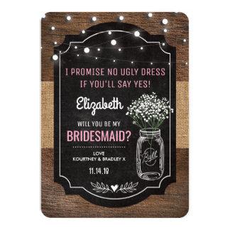 Rustic Burlap Bridesmaid Wedding   Mason Jar Card
