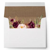 Rustic Burlap Burgundy Floral Invitation Envelope