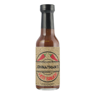 Rustic Burlap Chili Peppers Personalized Hot Sauce