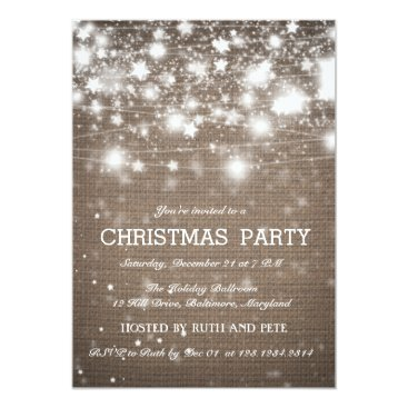 Christmas Themed Rustic Burlap Christmas Party Shining Stars Card