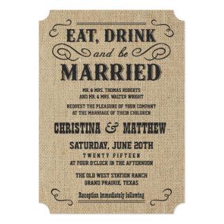 Rustic Burlap Country Western Wedding Invitations