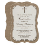 Rustic Burlap Cross Holy Communion Or Confirmation Card at Zazzle