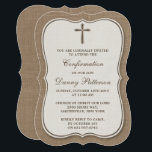 """Rustic Burlap Cross Holy Communion Or Confirmation Card<br><div class=""""desc"""">Rustic Burlap Cross Holy Communion Or Confirmation Invitations. These invitations can be customized for any holy event including Confirmations, Christenings, Communions, Baptisms and much more. Add your custom wording by using the &quot;Edit this design template&quot; section or click the blue &quot;Customize it&quot; button to change the font style and color,...</div>"""