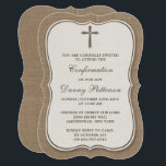 "Rustic Burlap Cross Holy Communion Or Confirmation Invitation<br><div class=""desc"">Rustic Burlap Cross Holy Communion Or Confirmation Invitations. These invitations can be customized for any holy event including Confirmations, Christenings, Communions, Baptisms and much more. Add your custom wording by using the &quot;Edit this design template&quot; section or click the blue &quot;Customize it&quot; button to change the font style and color,...</div>"