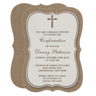 Rustic Burlap Cross Holy Communion Or Confirmation Invitation