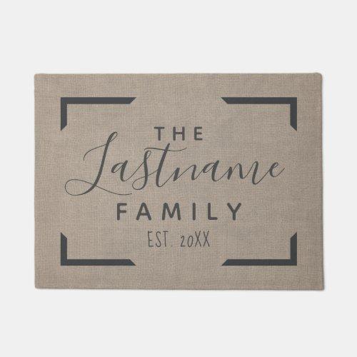 Rustic Burlap _ Custom Family Welcome Doormat