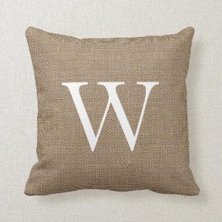 Rustic Burlap Custom Monogrammed Throw Pillows