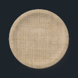 "Rustic Burlap Custom Party Paper Plates<br><div class=""desc"">Rustic Burlap Custom Party Paper Plates. Burlap paper plates are available in a few sizes great for an outdoor rustic wedding reception,  birthday party,  family reunion,  BBQ and more. Add text or a monogram to personalize these plates.</div>"