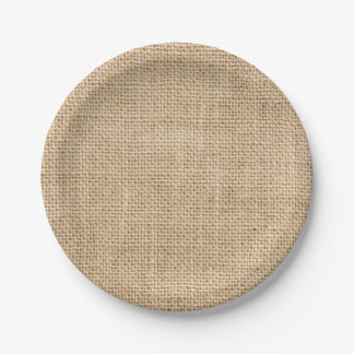 Rustic Burlap Custom Party Paper Plates 7 Inch Paper Plate