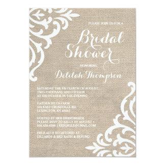 Rustic Burlap Damask Bridal Shower Invitation