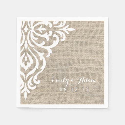 Rustic Wedding Napkins: Rustic Burlap Damask Vintage Wedding Napkins Standard