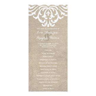 Rustic Burlap Damask Vintage Wedding Program Rack Card