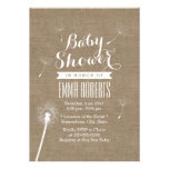 Rustic Burlap Dandelion Baby Shower Invitations