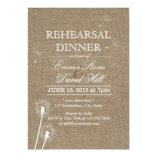 Rustic Burlap Dandelion Rehearsal Dinner Card