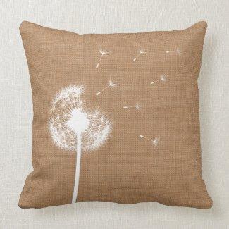 Rustic Burlap Dandelion Throw Pillow