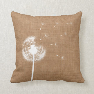 Rustic Burlap Dandelion Throw Pillow