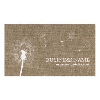 Rustic Burlap Dandelion Wedding Planning Double-Sided Standard Business Cards (Pack Of 100)