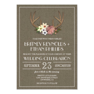 Rustic Burlap Deer Antler Wedding Invitations