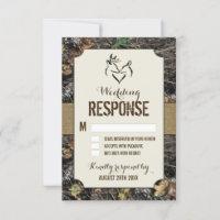 Rustic Burlap   Deer Hunting Camo RSVP Cards