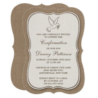 Rustic Burlap Dove Holy Communion Or Confirmation Card