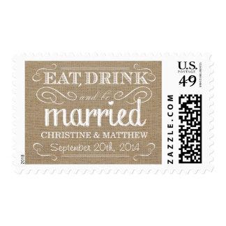 Rustic Burlap Eat Drink be Married Wedding Postage
