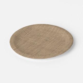 Rustic Burlap Effect Paper Plate