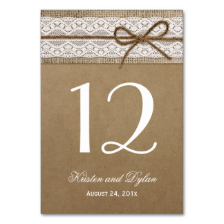 Rustic Burlap Elegant Lace Wedding Table Number