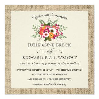 """Rustic Burlap Elegant Wedding Invitations 5.25"""" Square Invitation Card"""