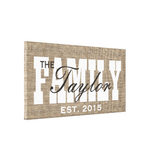 Rustic Burlap Family Established Family Name Sign Canvas Print