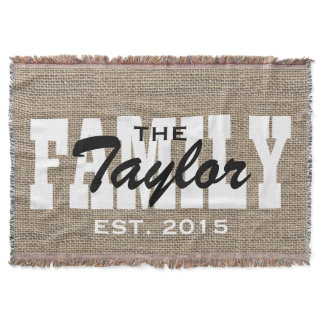 Rustic Burlap Family Name Family Established Throw Blanket
