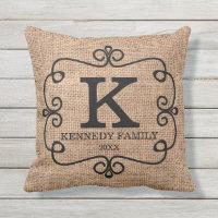 Rustic Burlap Family Name Monogrammed Throw Pillow