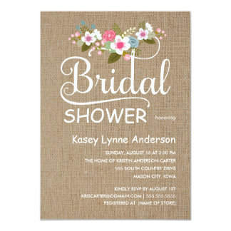 Rustic Burlap Floral Bridal Shower Card