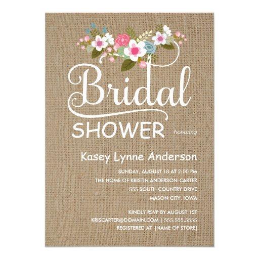 Rustic Burlap Floral Bridal Shower Custom Invitations