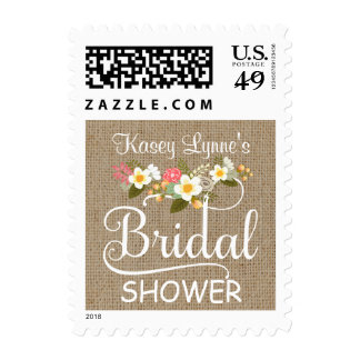 Rustic Burlap Floral Bridal Shower Stamp