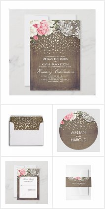 Rustic Burlap Floral Lace and Gold Confetti Dots