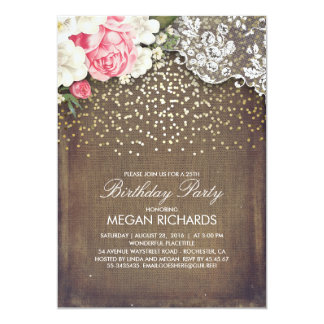 Rustic Burlap Floral Lace Gold Birthday Party Card