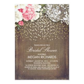 Rustic Burlap Floral Lace Gold Bridal Shower Card