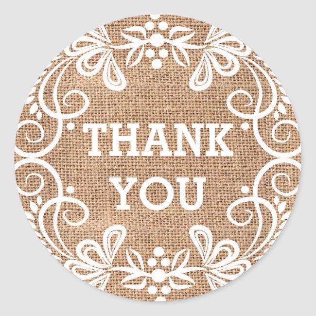Rustic Burlap Floral Swirls Thank You