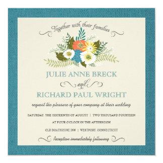 """Rustic Burlap Floral Wedding Invitations 5.25"""" Square Invitation Card"""