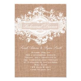 RUSTIC BURLAP FLORAL WEDDING REHEARSAL DINNER CARD
