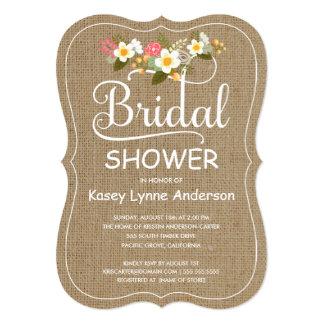 Rustic Burlap Floral Wreath Bridal Shower Card