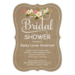Rustic Burlap Floral Wreath Bridal Shower Custom Announcement