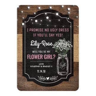 Rustic Burlap Flower Girl Wedding | Mason Jar Card