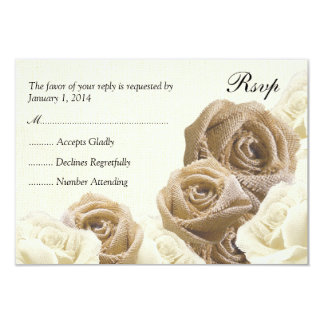 Rustic Burlap Flowers Roses Wedding RSVP Card Personalized Invitation