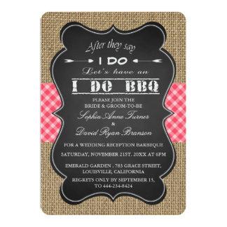 Rustic Burlap, Gingam & Chalkboard I DO BBQ Custom Card