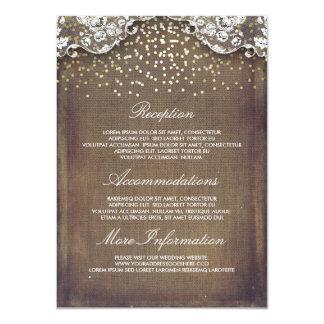 Rustic Burlap Gold Confetti Lace Wedding Details Card