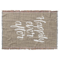 Rustic Burlap Happily Ever After Wedding Throw