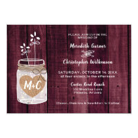 Rustic Burlap Heart Mason Jar Wedding Invitation