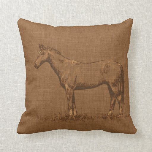 Throw Pillows Ross : Rustic Burlap Horse Throw Pillow Zazzle